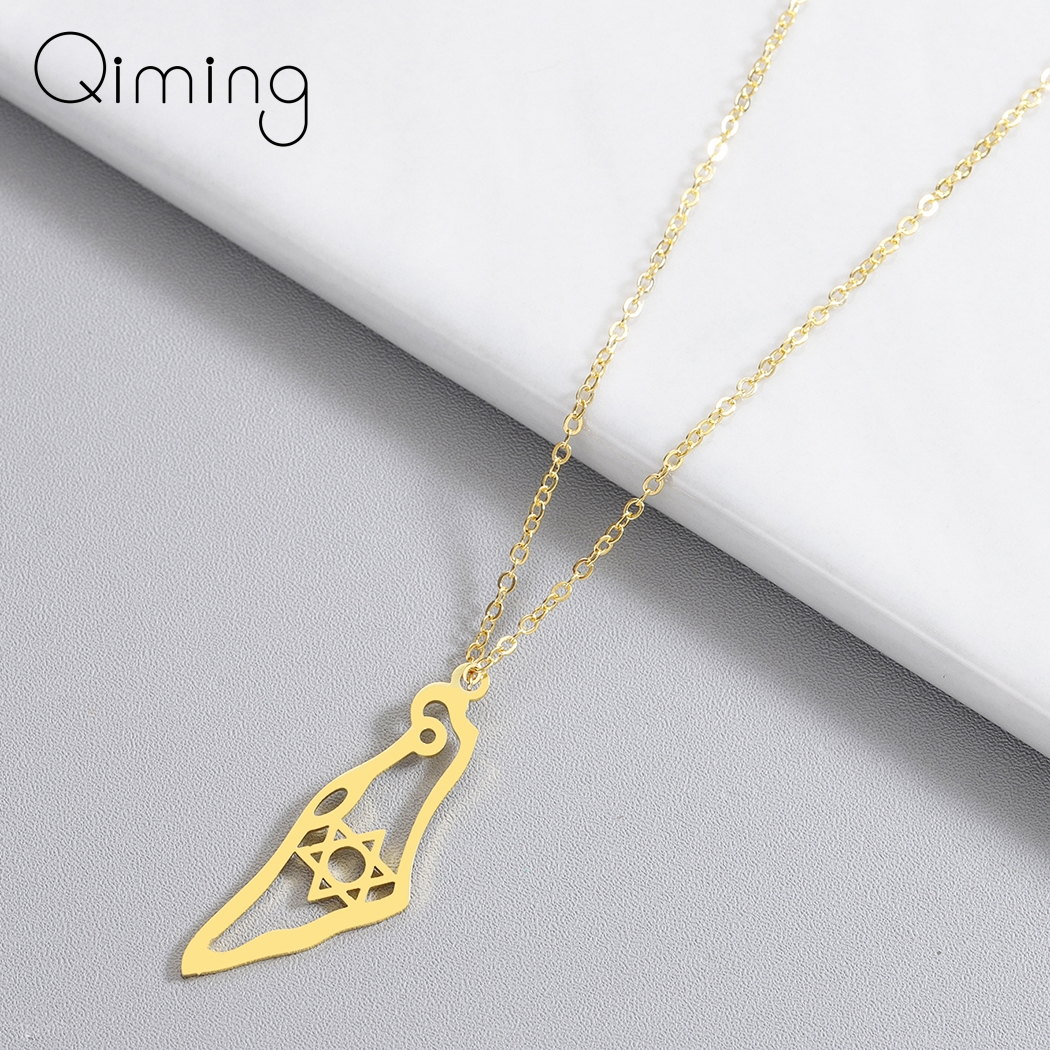 Israel Map Pendant Necklace Stainless Steel Map Of Israel Necklace For Women Men Magen Star Of David Jewish Jewelry Gifts Pendant Necklaces    - AliExpress