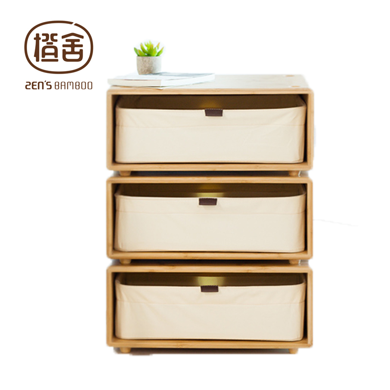 ZEN'S BAMBOO Chest of Drawer Small Storage Bedside Cabinet FreestyleDIY Combine TV Stand  Living Room Night Stand Home Furniture solid wood chest of drawers five drawer cabinet