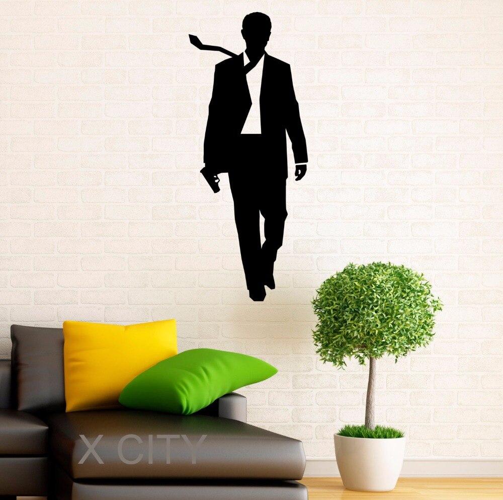 Poster design online - James Bond Stickers 007 Vinyl Decal Cool Movie Poster Dorm Teen Design Home Interior Wall Art