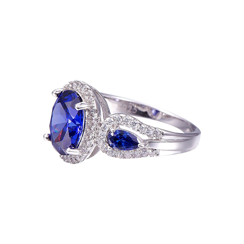 8d6e4e588fb BONLAVIE Oval e Gota de Água Azul Safira Anel de Prata 925 Anéis ...