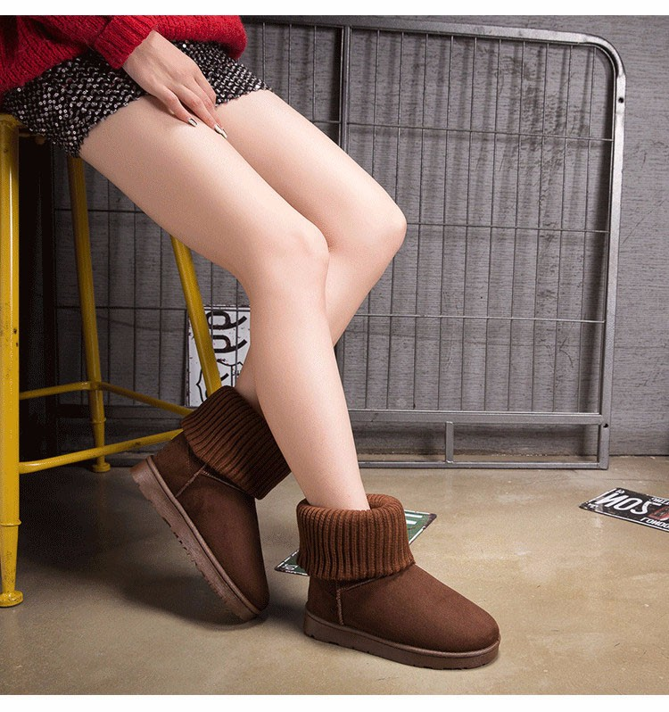 KUYUPP Patchwork Knitting Wool Women Snow Boots Winter Shoes 2016 Flat Heels Warm Plush Ankle Boots Slip On Womens Booties DX119 (49)