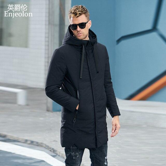 Enjeolon Marka Kış Ceket Erkekler Uzun Parka Ceket Kalın Şapka Parka ceket Erkekler Kapitone Kış Ceket Ceket 3XL Elbise MF0060
