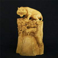 Yueqing Boxwood Carvings Tiger Singular Office Supplies Root Carving Home Decoration Wood Ornaments Featured Gift