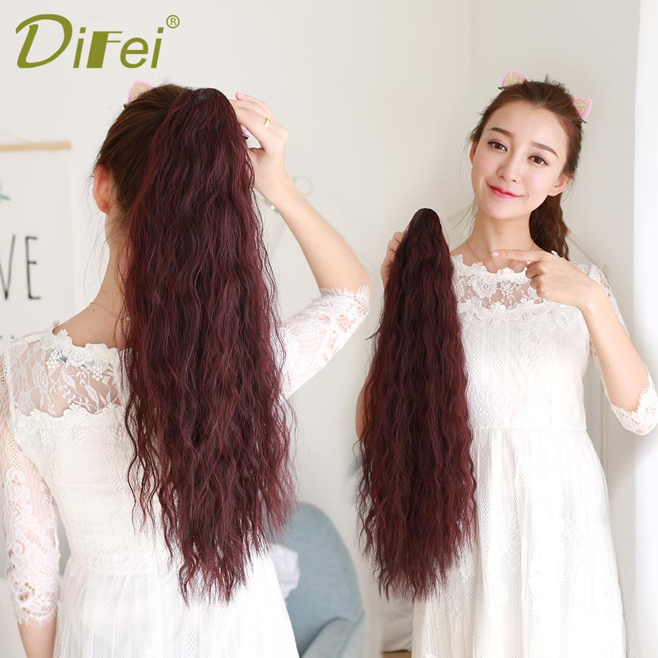 DIFEI Synthetic Ponytail Pony Tail Heat Resistant Claw and Ribbon Drawstring Ponytails Long Wavy Curly Ponytail For Women ...