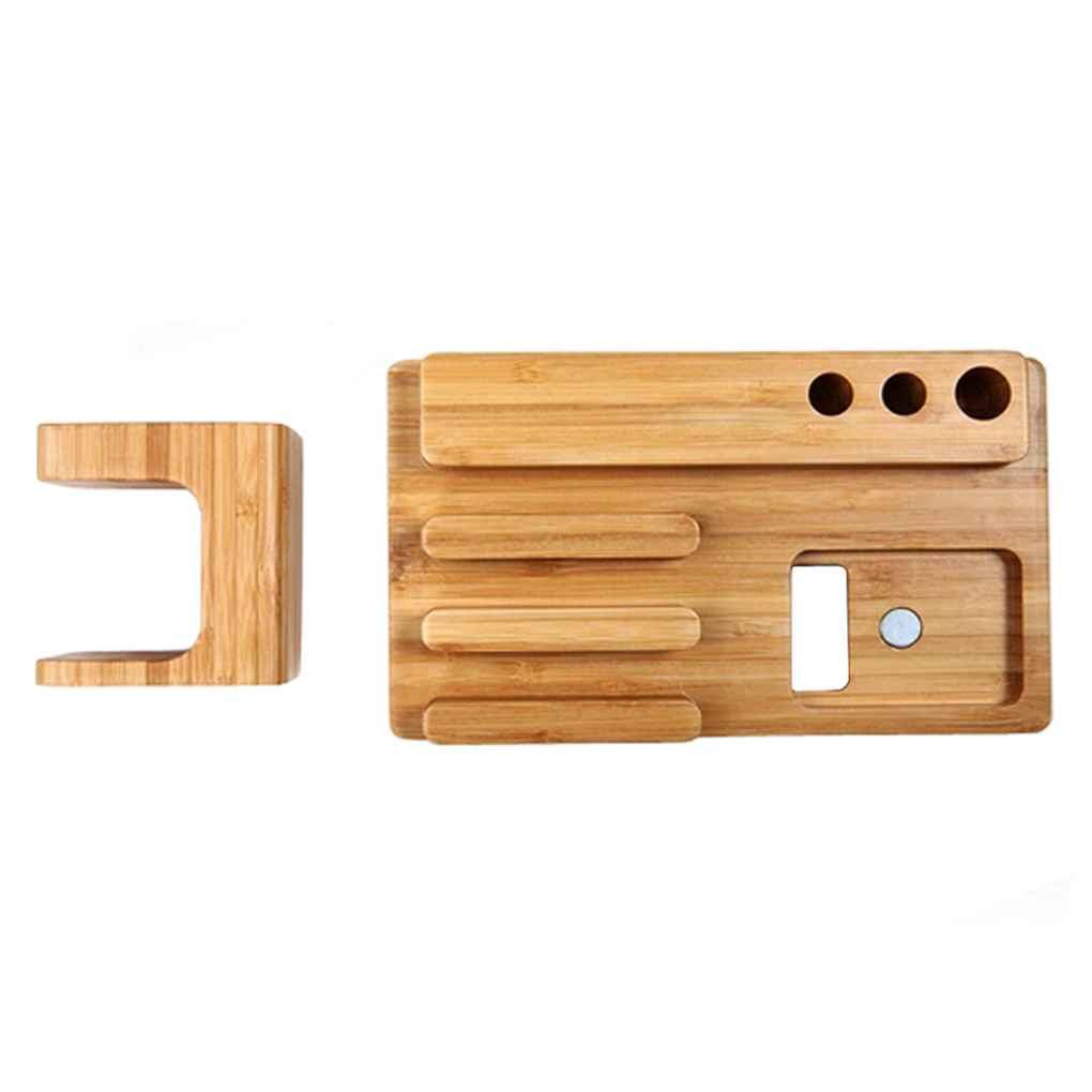 4 in 1 Holder for Apple Watch 38/42mm Bamboo Cradle Bracket Dock for Phones Business Card Pen Station Organizer 1