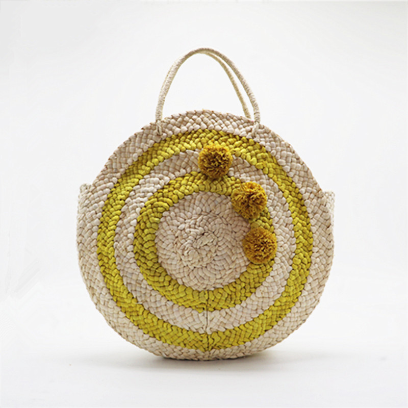 Beach Bag Round Straw Totes Bag Large Big Summer Straw Bags Tassels Pom Pom Women Natural Handbag 2018 Yellow Striped Circular bags big size large totes straw bag for travel in summer trip on the beach beside sea handbags with flowers custom sun hat set