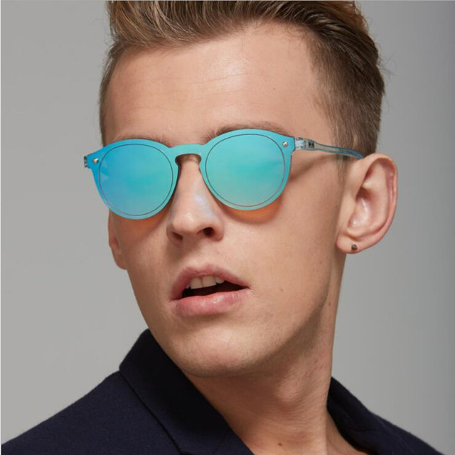 6be46afbe6 REALSTAR Brand Fashion Sunglasses Men Rivets Round Mirrored Designer Sun  Glasses Women 2018 Vintage Eyewear Oculos Shades S181