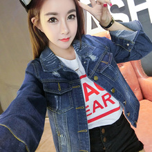 womens denim jackets coats plus size 2016 Fall Newest Pure cotton Frayed bomber jacket coat ladies Slim fit Jeans jackets Girls