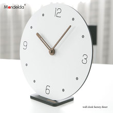 Hot Sale Mandelda DIY Creative Silent Bracket Smart Wall Clock White Digital Circular Wooden Watch on for Home Decoration
