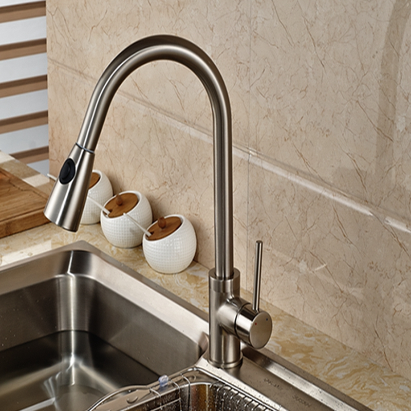 Wholesale And Retail Promotion Deck Mounted Brushed Nickel Kitchen Faucet Pull Out Vessel Sink Mixer Tap Single Handle Hole цена и фото