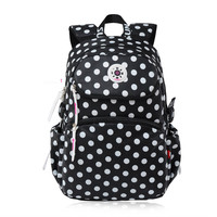 Polka Dot Women Backpack Waterproof Large Dark Blue Printing Backpack Girl Children Bag School Bags For