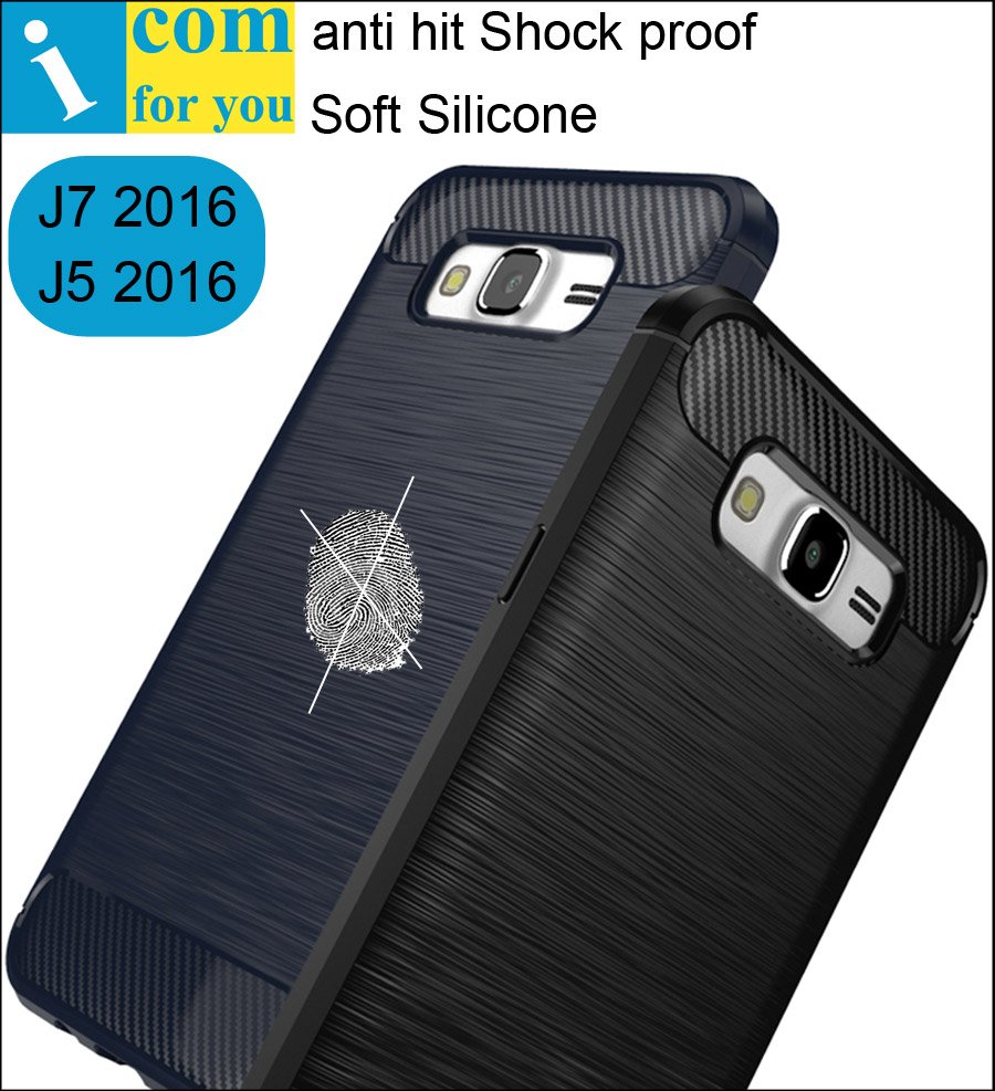 anti hit Shock proof Silicone Cover Case For Samsung Galaxy J5 J7 2016 J510FN J710FN Thin Slim carbon fiber Brushed Soft Shell