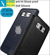Анти хит надежная защита от повреждений Силиконовый Чехол Case Для Samsung Galaxy J5 J7 2016 J510FN J710FN Тонкий Тонкий углеродного волокна Матовый Мягкой Оболочки