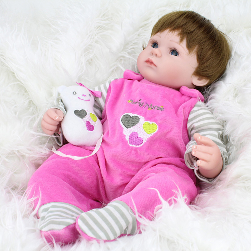 Cute Small Soft Silicone Vinyl Dolls 42cm Doll Reborn Baby Brown Wig