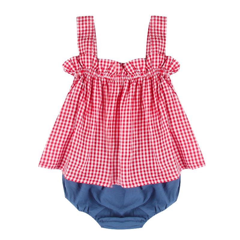 2Pcs Baby Girl Clothing Set Summer Newborn Clothes Cotton Plaid Top Dress Casual Shorts Baby Girls Clothes For Baby emotion moms 29pcs set newborn baby girls clothes cotton 0 6months infants baby girl boys clothing set baby gift set without box