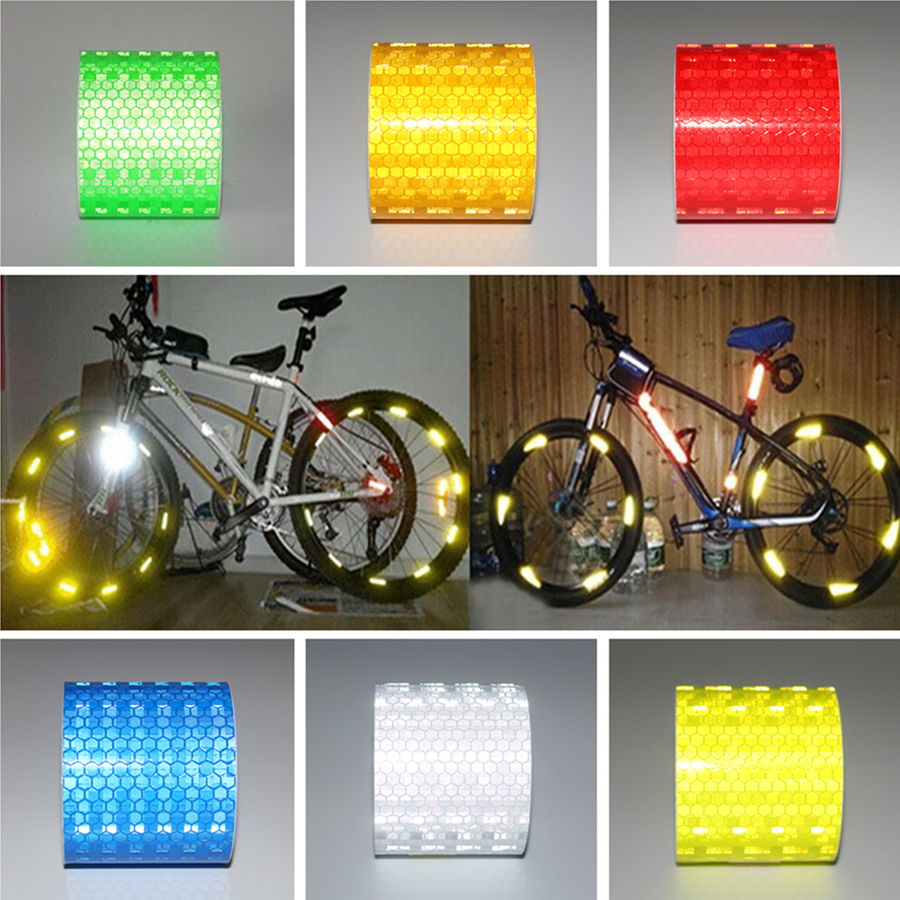 5cm*8m High Visibility reflective Material car stickers Motorcycles Safety Warning Tape Bicycles decoration adhesive strips