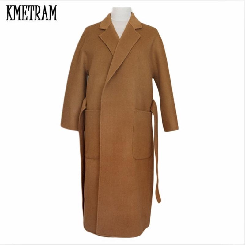 Hh223 Long Épais Kmetram Hiver Abrigo Black Longue Automne Vestes Femmes Surdimensionné 2018 D'hiver Casaco camel Laine Feminino Mujer Manteau Ceinture 7Xq7T
