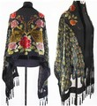 Free Shipping Black Chinese Women's Velvet Silk Beaded Embroidery Shawl Scarf Peafowl WS-081