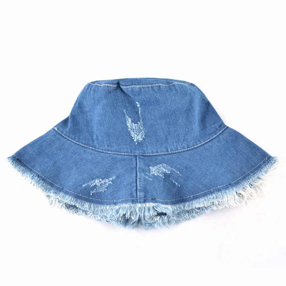 beed27ce8 Summer Washed Denim Sun Hat Women Fashion Tassel Floppy Cap Ladies Wide  Brim Beach Bucket Hats Female Cotton foldable Chapeu