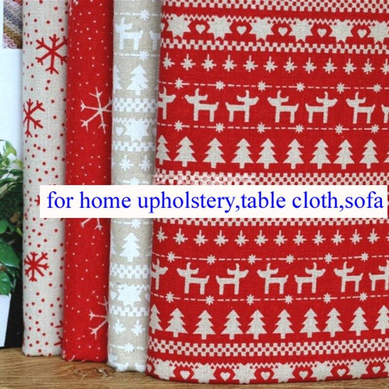 Deers Snow Print Cotton Linen Christmas Material Table Cloth Sofa  Upholstery Fabric(China)