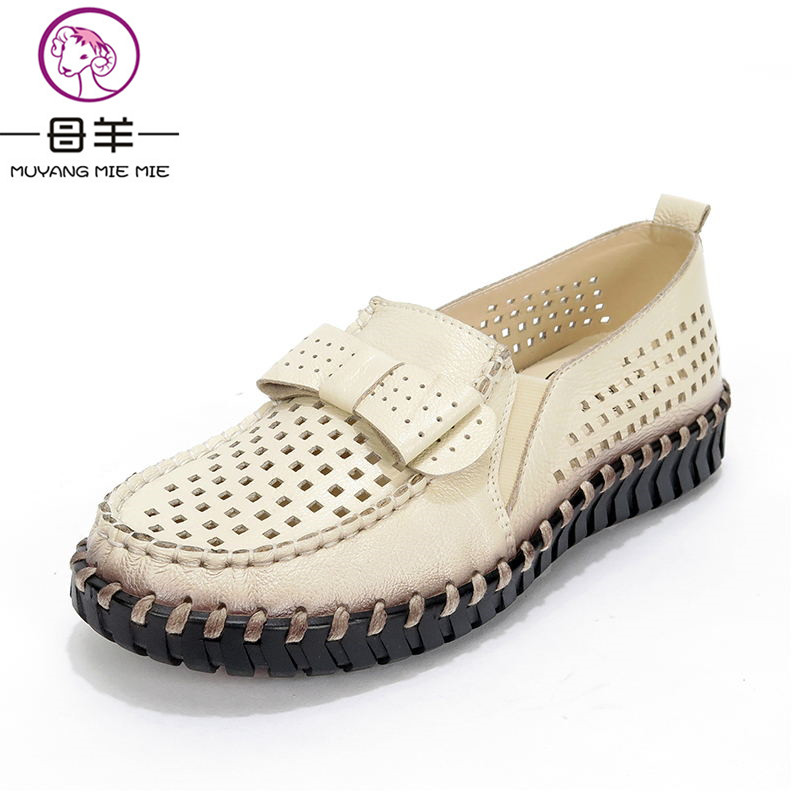 Summer Women Shoes Woman Genuine Leather Flat Sandals Soft Breathable Hole Shoes Sandals Women's Flat Casual Shoes Women Sandals