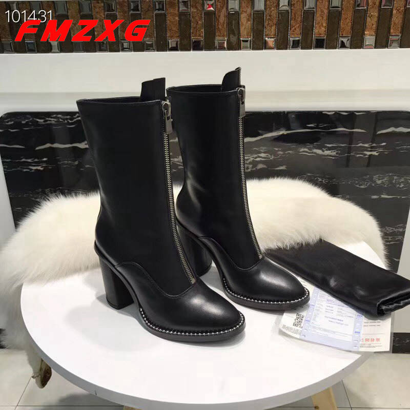 Fashion Zipper Women Heels High Boots High Quality Top Brand Chain Boots Sexy Shoes Motorcycle Brand Woman Booties Platform Boot