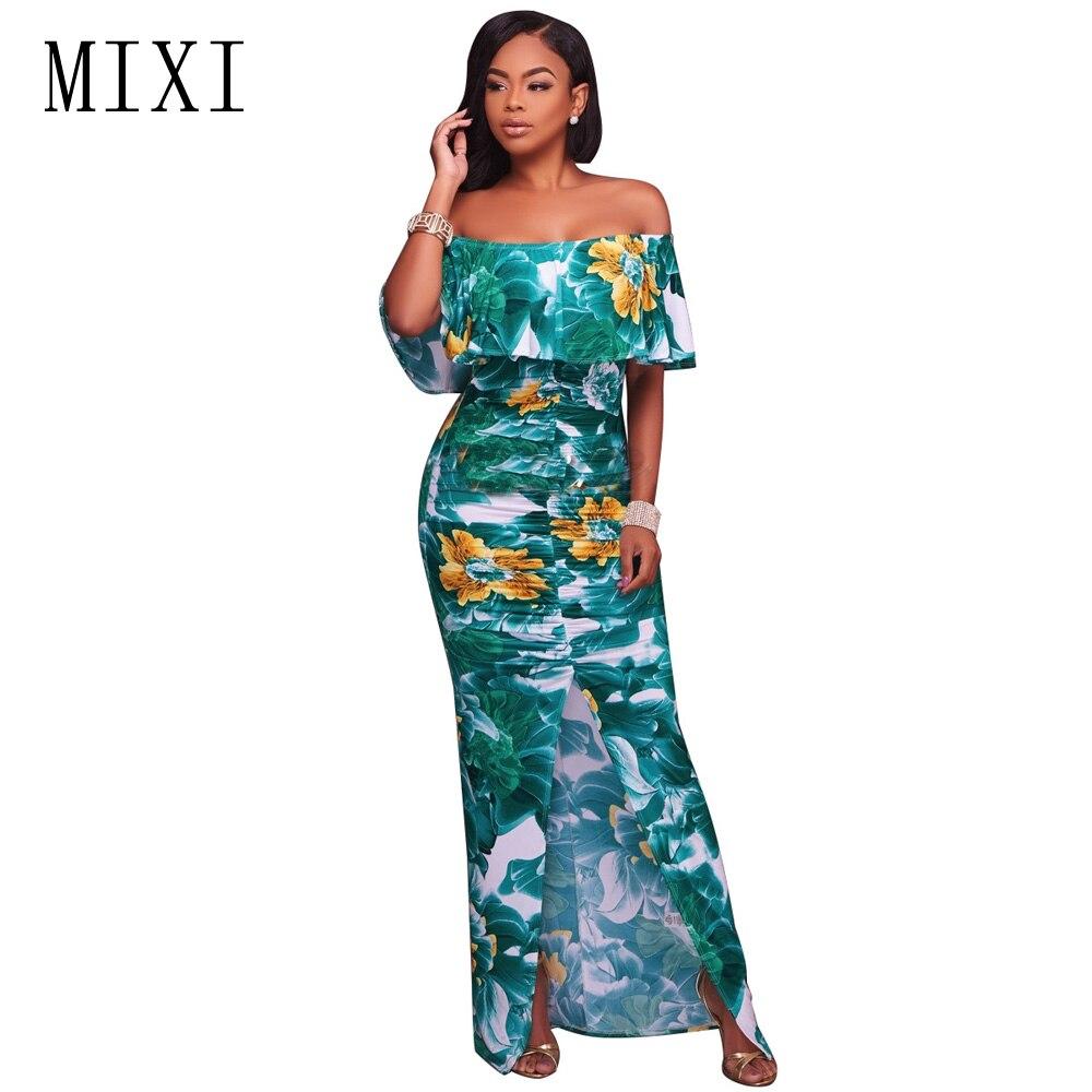 MIXI Vintage Print Split Maxi Dress Women Off Shoulder Ruffle ...