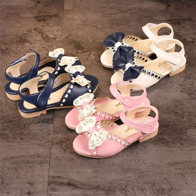 eff6b31ff School Shoes Girl Open Toe Sandals Summer Children Sandals Kids Sandlas  Buttery Tie Design Princess Shoes Girls Bowtie Shoes 823