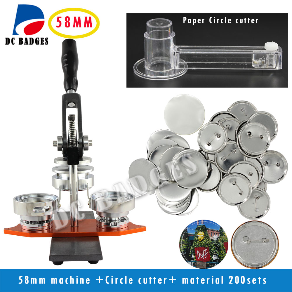 Free Shipping High Quality 2 1/4 58mm Badge Button Maker Machine +Circle Cutter+200 Sets Metal Pinback Supplies