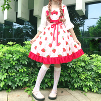 Sweet Cute Strawberry Cherry Print Girls Dress Lolita Chic Spaghetti Strap Bow Princess Dress Japan Kawaii Ruffles Lovely Dress