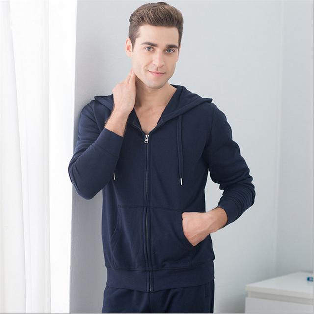 Séries estilo ativo terno serviço de Casa pijamas camisola Com Capuz homens Sportswear algodão Longo-manga