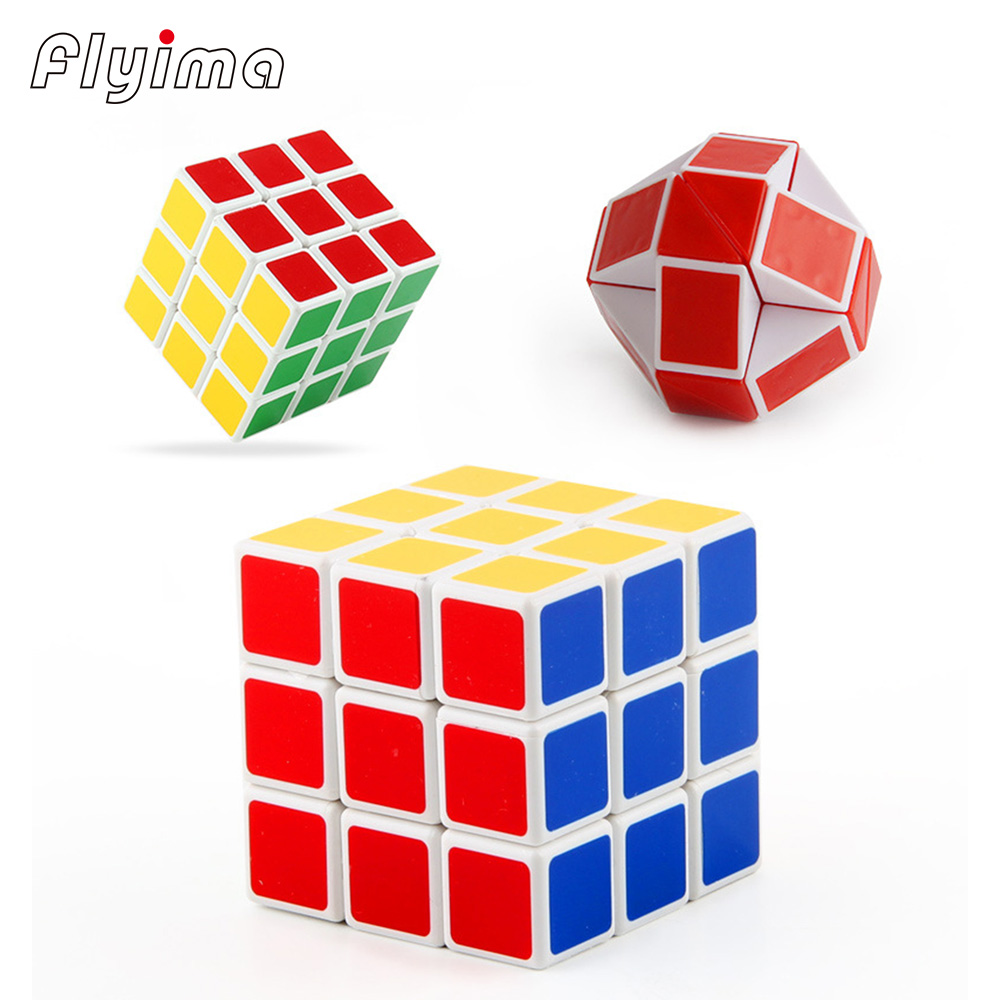 3pcs/set 3x3x3 Puzzle Cube Third-order magical cubes magic ruler Educational Toys Gifts mini colorful