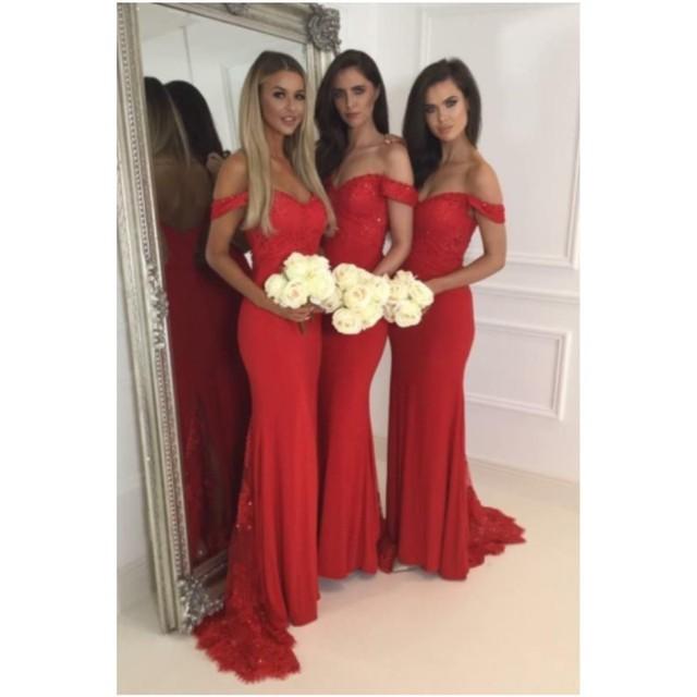 Elegante Rote Brautjungfer Kleider Lange Schulterfrei Hochzeit Kleid ...