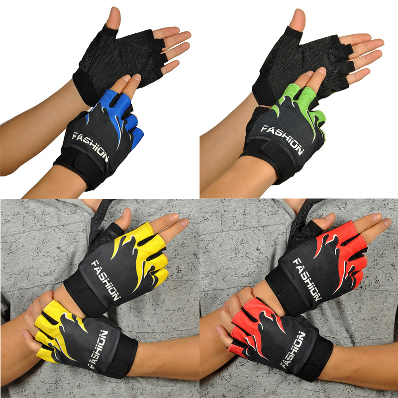 Outdoor Sports Bicycle Cycling Biking Hiking Gel Half Finger Fingerless Gloves Super Abrasion Palm Material #SS