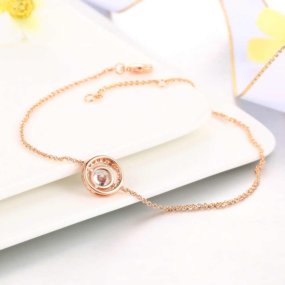 כפול הוגן 7 mm עגול CZ אבן סגולה צמידים לנשים רוז זהב/כסף צבע קריסטל נשים של יד תכשיטי שרשרת חדש DFH165
