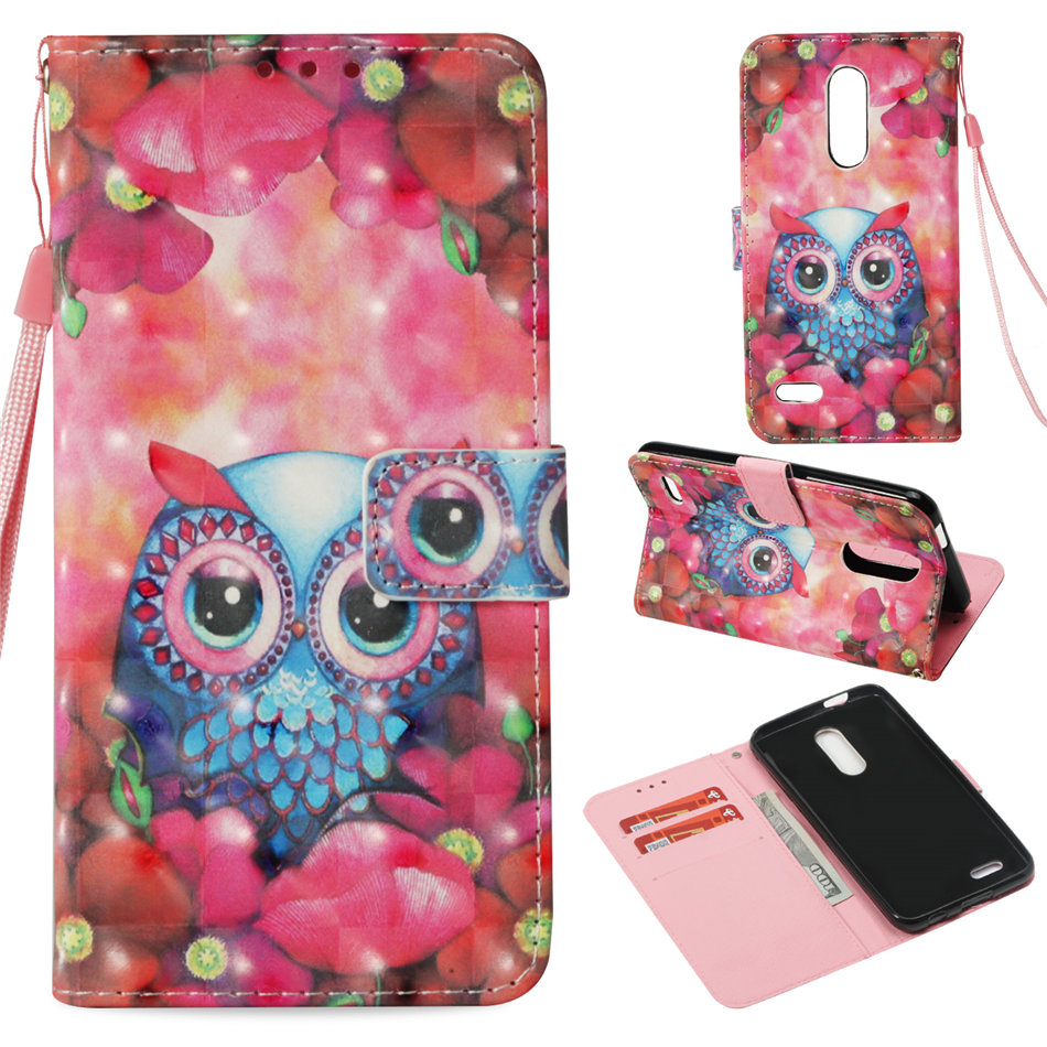 Luxury Wallet Flip Case For Fundas LG K30 K8 K10 2018 Butterfly Owl Lace Pony Card Slot Phone Cover Leather Capa P03Z in Wallet Cases from Cellphones Telecommunications