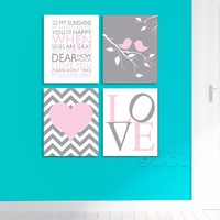 Cartoon Chevron Print Canvas Art Print Sunshine Quote Wall Pictures For Nusery Room Decoration Set Of