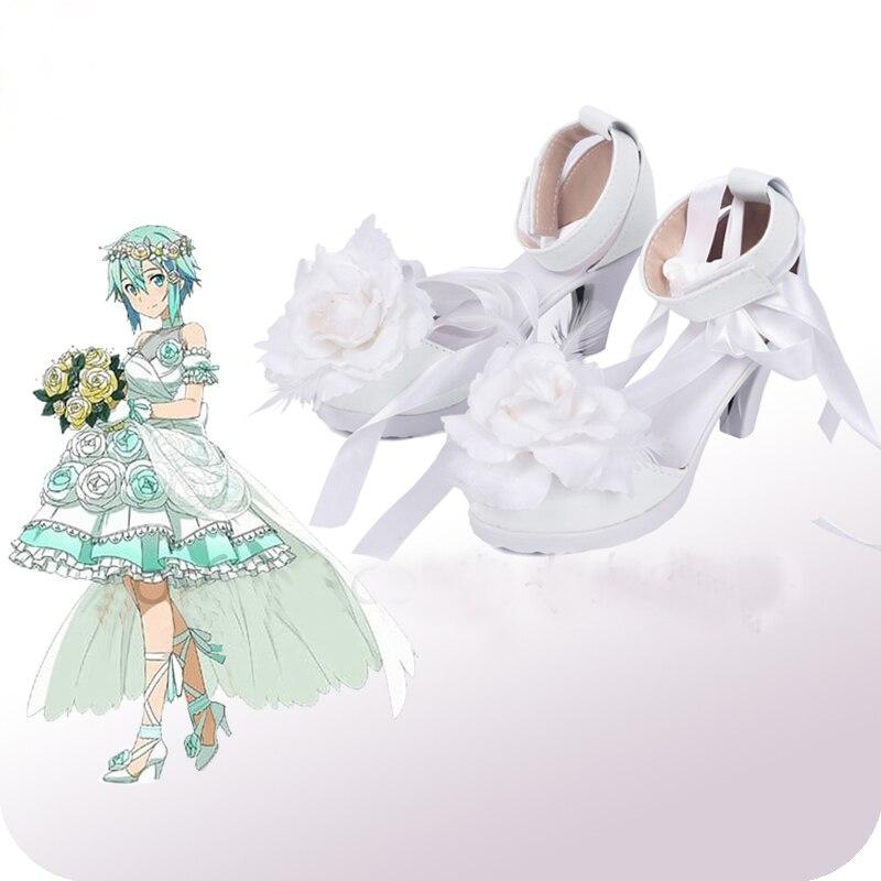 Sword Art Online Asada Shino Wedding White Cosplay Shoes Boots Halloween Cosplay Costume Accessories