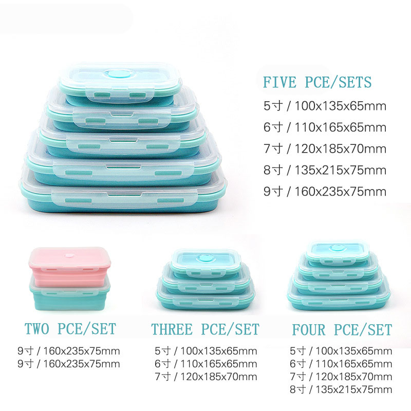 3Pcs 4pcs Set Food Grade Silicone Lunch Box Collapsible Food Box Portable Microwave Bento Lunch Box