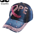 Chegada nova designer carta ESPERANÇA menina das mulheres boné de beisebol de luxo rosa fúcsia strass denim marca snapback gorras casquette