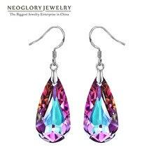 Neoglory MADE WITH SWAROVSKI ELEMENTS фиолетовый кристалл капли воды Длинные Висячие серьги для Для женщин Новинка 2017 года; стильное платье подарки
