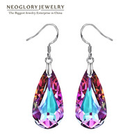 Neoglory Silver Plated Colorful Crystal Water Drop Dangle Earrings For Women 2016 New Style Gifts