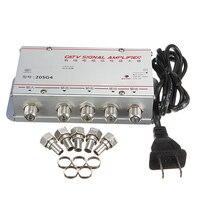 1 Set Standard AC 220V 50Hz 4 Way CATV Cable TV Signal Amplifier AMP Universal Video