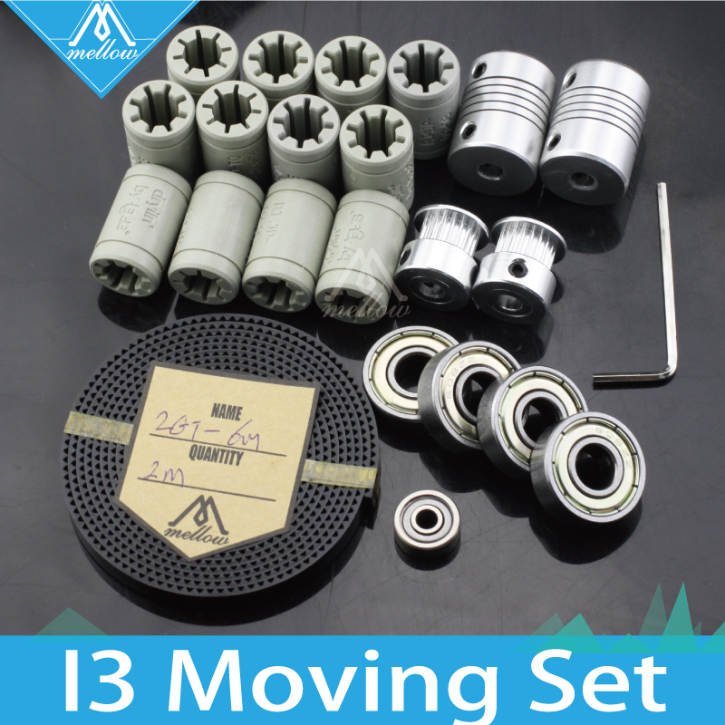 Free shipping! 3d printer reprap i3 movement kit GT2 belt pulley 608zz bearing , plastic lm8uu RJ4JP-01-08, 624zz bearing free shipping 3d printer reprap prusa i3 movement kit gt2 belt pulley 608zz bearing lm8uu 624zz bearing