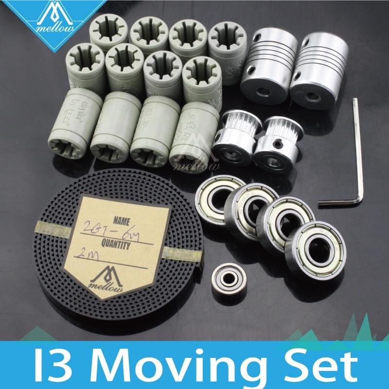 Livraison gratuite! Imprimante 3d reprap i3 kit de mouvement GT2 poulie à courroie 608zz roulement, plastique lm8uu RJ4JP-01-08, roulement 624zz