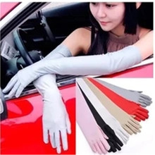 iMucci Satin Long Finger Elbow Sun protection gloves Opera Evening Party Prom Costume Fashion Gloves black red white grey women