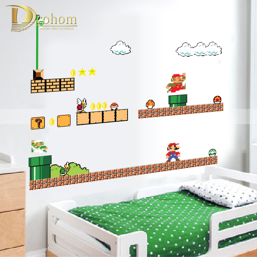 Removable Cartoon Super Mario Bros Wall Stickers For Kids Rooms Bedroom Home Decor Vinyl Poster Wallpaper