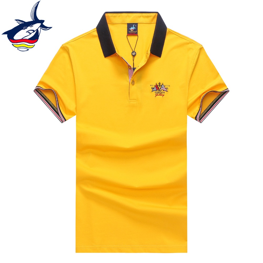 Tace & Shark men   polo   shirt solid 3D Embroidery casual & fashion men   polo   shirt brand high quality slim fit camisetas hombre 3XL