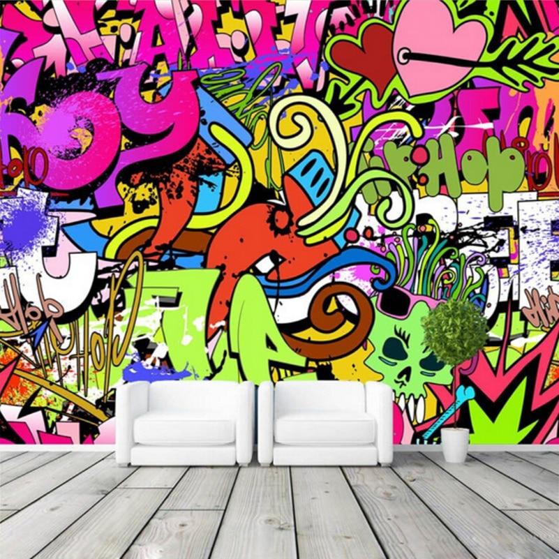 Customized Size Modern Creative Art 3D Colorful Graffiti