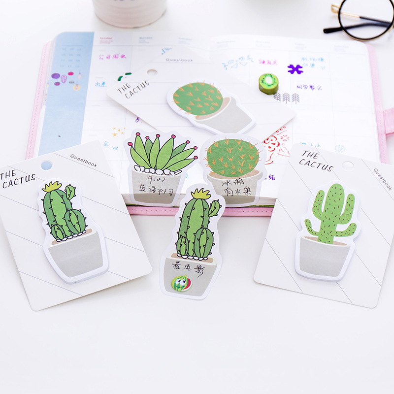 4 set lot cute cactus memo pad cute sticker note paper message note post it writing scratch pads in memo pads from office school supplies on